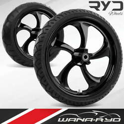 Rollin Blackline 18 Fat Front And Rear Wheels Tires Package 09-19 Bagger