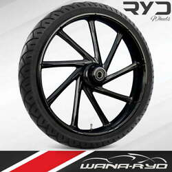 Kinetic Blackline 23 Fat Front Wheel Tire Package 13 Rotor 08-19 Bagger