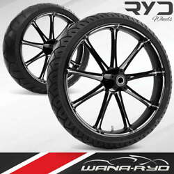 Ryd Wheels Ion Starkline 23 Fat Front And Rear Wheels Tires Package 09-19 Bagger