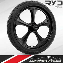 """Adrenaline Blackline 21 X 5.5"""" Fat Front Wheel And 180 Tire Package 00-07 Touring"""