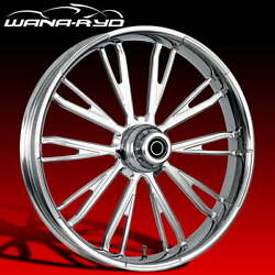 """Ryd Wheels Resistor Chrome 23 X 5.0"""" Fat Front Wheel And Tire Package 00-07 Bagger"""