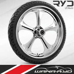 Adrenaline Chrome 21x5.5 Fat Front Wheel And 180 Tire Package 08-20 Harley Touring