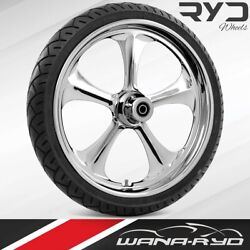Ryd Wheels Adrenaline Chrome 21 Front Wheel Tire Package 13 Rotor 00-07 Bagger
