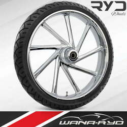 Ryd Wheels Kinetic Chrome 21 Front Wheel Tire Package Dual Rotors 08-19 Bagger