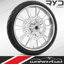 Ryd Wheels Diode Chrome 23 Front Wheel Tire Package Dual Rotors 08-19 Bagger