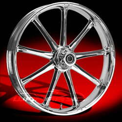 Ryd Wheels Ion Chrome 23 Fat Front And Rear Wheels Tires Package 09-19 Bagger