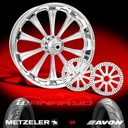 Performance Machine Revel Chrome 21 Front Wheel Tire And Dual Rotors 00-13 Flh