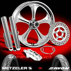 Wanaryd Adrenaline Chrome 21 Front Wheel Tire And Single Disk Kit 00-13 Flh