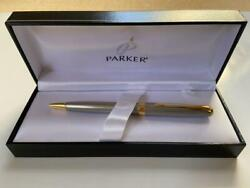 Parker Ballpoint Pen Vintage Rare And Discontinued Silver And Gold Trim Pm03991