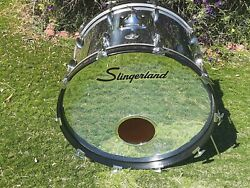 Slingerland Bass Drum Chrome Over Wood 22 Preowned By Collector Excellent