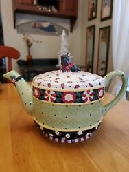 Me Ink Mary Engelbreit 2000 Michelandco Christmas Wish Peppermint Tea Pot 6.5andtimes11