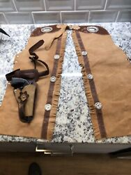 Roy Rogers Vintage Kids Chaps And Gun With Holster Size 6 Western Trigger