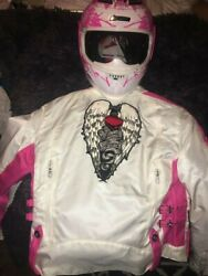 Icon Helmet Jacket Street Angel Motorcycle Pink And White