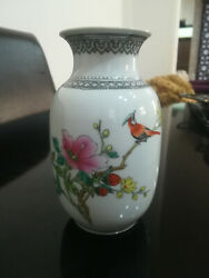 Chinese Proc Porcelain Miniature Vase With Blossom Bird And Calligraphy