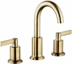 8 Inch Brushed Gold 2 Handles Widespread Bathroom Faucet W Plastic Pop Up Drain
