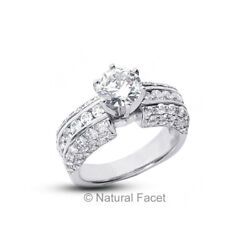 3.10ctw G/si1 Round Cut Natural Certified Diamonds White Gold Side Stone Ring