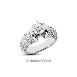 1.65ct G/si1 Round Cut Natural Certified Diamonds White Gold Classic Accent Ring