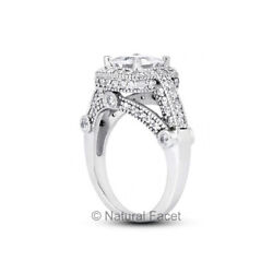 1.52ct G Si1 Princess Natural Certified Diamonds White Gold Halo Engagement Ring