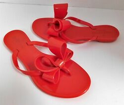 Valentino Red Jelly Bow Flip Flop Sandals Italy 36