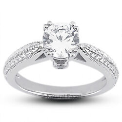 1.61ct F/si2 Round Natural Diamonds White Gold Vintage Style Engagement Ring