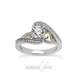 1.01ct I Si3 Round Natural Diamonds Two-tone Gold Vintage Style Side Stone Ring