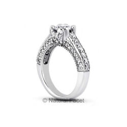 1.42ct G/vs2 Round Natural Diamonds White Gold Vintage Style Side Stone Ring