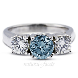 1.58ct Blue Si1 Round Natural Certified Diamonds 14k Classic Engagement Ring