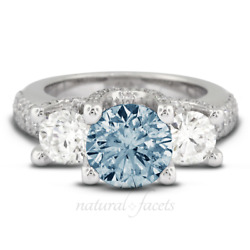 2.11ctw Blue Si2 Round Cut Natural Certified Diamonds 14k Gold Three Stone Ring