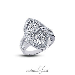 0.73ctw F Vs1 Round Cut Natural Certified Diamonds White Gold Right Hand Ring