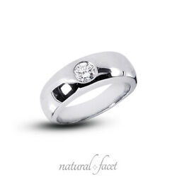 0.48 Ctw H Si2 Round Cut Natural Certified Diamond White Gold Classic Mens Ring