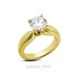 0.74ct H Vs2 Round Natural Diamond Yellow Gold Vintage Solitaire Engagement Ring