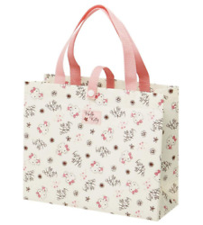 JAPAN SANRIO Hello Kitty Cat Flower Pink Beige Leisure Bag Medium Tote School $13.49
