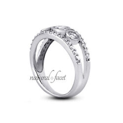 1.67ct D/si1 Round Natural Diamonds White Gold Vintage Style 3-stone Ring