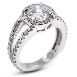 1.55ct H I1 Round Earth Mined Certified Diamonds White Gold Halo Side Stone Ring