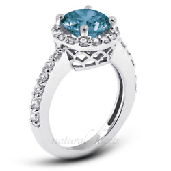 1.73ct Blue Si1 Round Earth Mined Certified Diamonds 18k Halo Engagement Ring
