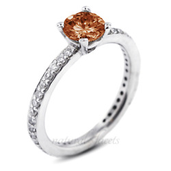 1.23ct Red Si1 Round Earth Mined Certified Diamonds 18k Classic Side Stone Ring