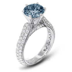 1.97ct Blue Si2 Round Earth Mined Certified Diamonds 18k Gold Side Stone Ring