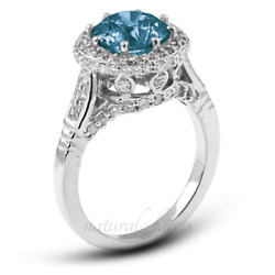 1.92ct Blue Si2 Round Earth Mined Certified Diamonds 18k Halo Side Stone Ring