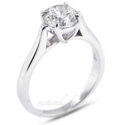 1.03ct E Si2 Round Natural Certified Diamond Platinum Solitaire Engagement Ring