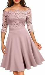 Missmay Womenand039s Vintage Floral Lace Half Sleeve Boat Neck Formal Swing Dress