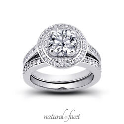 1.26ct G Si1 Round Earth Mined Certified Diamonds Plat Halo Engagement Ring Set