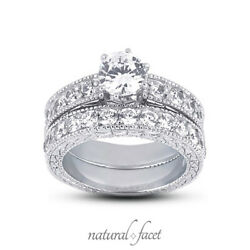 1.08ct D Vs1 Round Natural Diamonds Plat Vintage Style Ring With Wedding Band