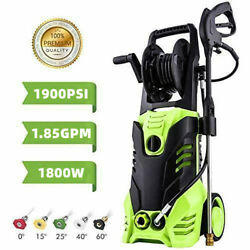 1900psi Pressure Washer 1.85gpm 1800w Electric 5 Quick-connect Spray Tips +reel