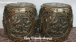 Collect Bronze Dragon Phoenix Hollow Out Plum Blossom Magpie Stool Chair Pair