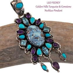 Leo Feeney Squash Blossom Necklace Pendant Hidden Water Golden Hills Turquoise