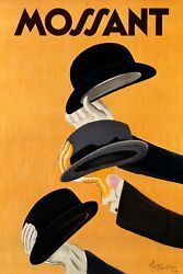 Mossant Elegance Of Men's Hats Fashion Cappiello Vintage Poster Repro Free S/h