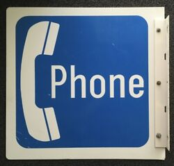 Vintage Large Original Pay Phone Booth Metal Sign Double Sided White And Blue