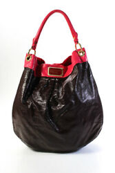 Marc By Marc Jacobs Leather Magnetic Closure 3 Pocket Large Tote Handbag Brown $69.99