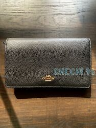 Authentic Coach Anna Foldover Crossbody Clutch Black Pebbled Leather $80.00