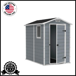 New Manor Large 4 X 6feet Resin Plastic Outdoor Backyard Garden Storage Shed